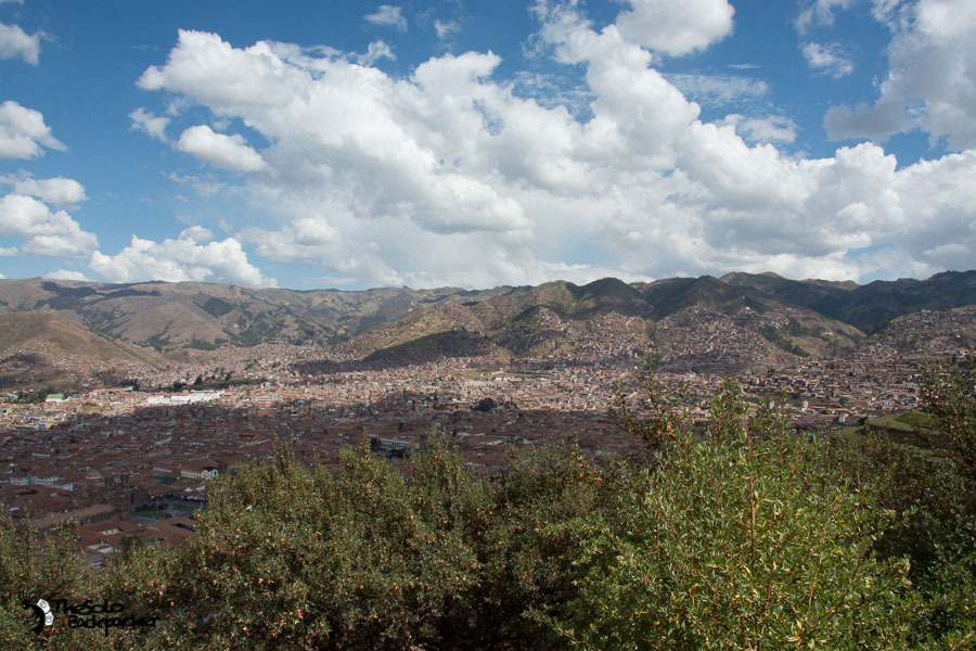 view of Cusco from statue of christ