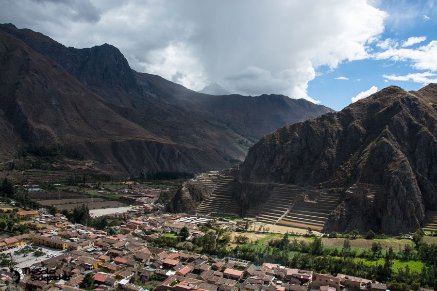 view of Ollantaytambo from pinkuylluna mountain peru