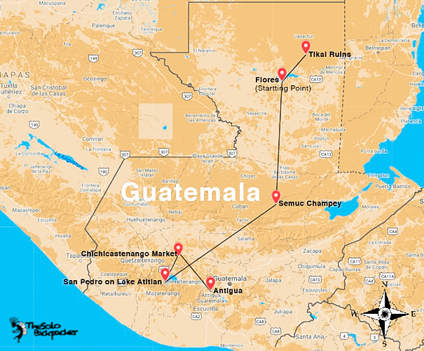 Guatemala backpacking itinerary map by thesolobackpacker.world