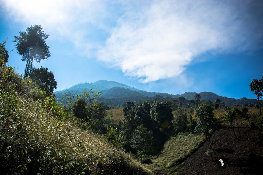 On the way to the top of Volcano Acatenango Guatemala backpacking itinerary