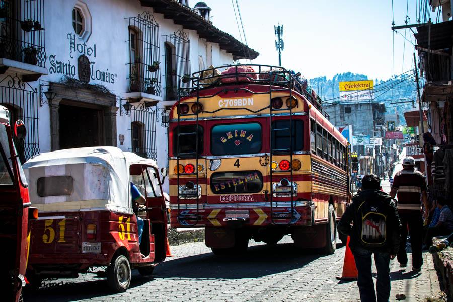 Bus stop outside Hotel Santo Tomas Guatemala backpacking itinerary