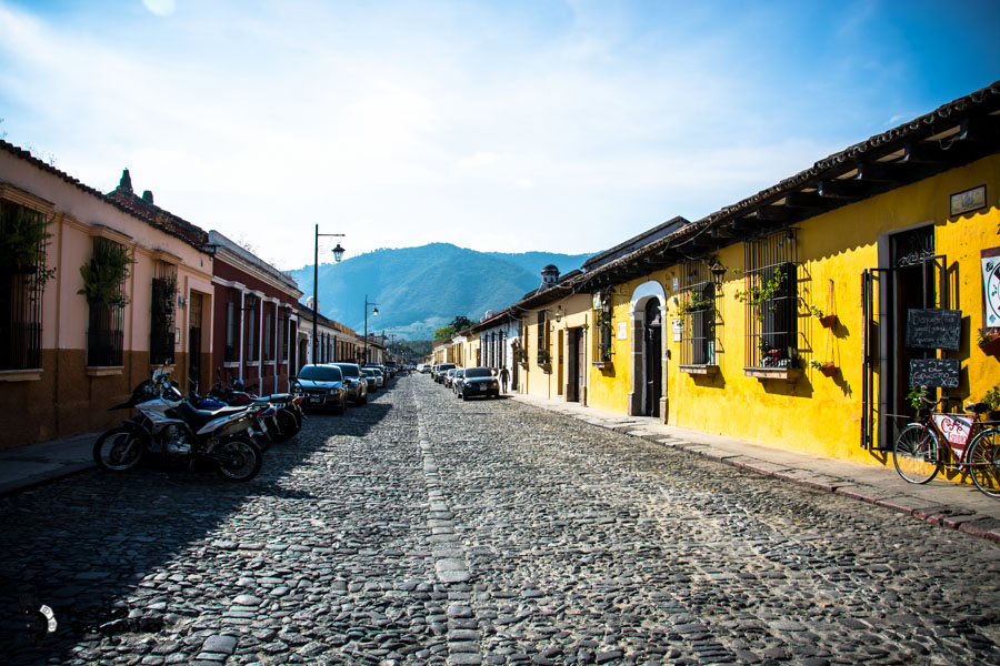 Street in Antigua Guatemala backpacking itinerary