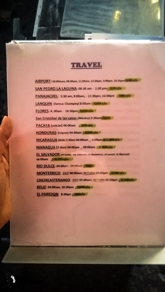 list of all the common distention from Antigua Guatemala backpacking itinerary
