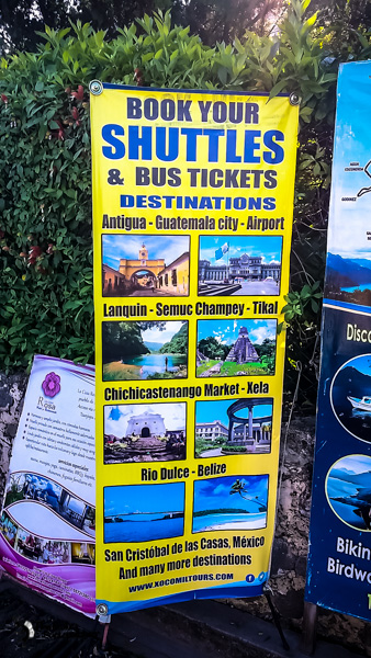 Shuttles from San Pedro Guatemala backpacking itinerary