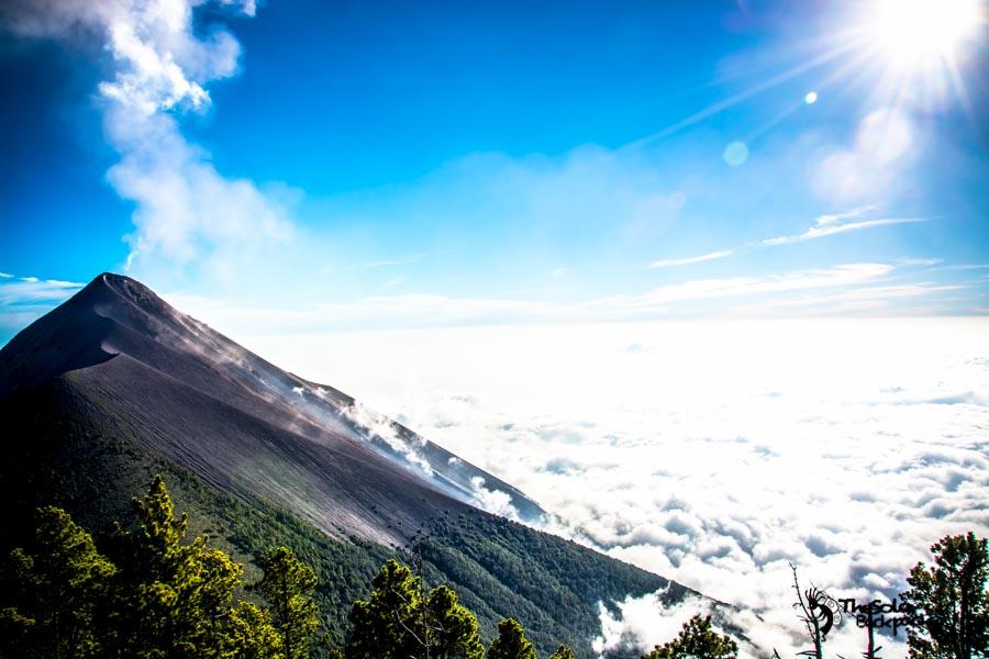 at Volcano Acatenango base camp Guatemala backpacking itinerary