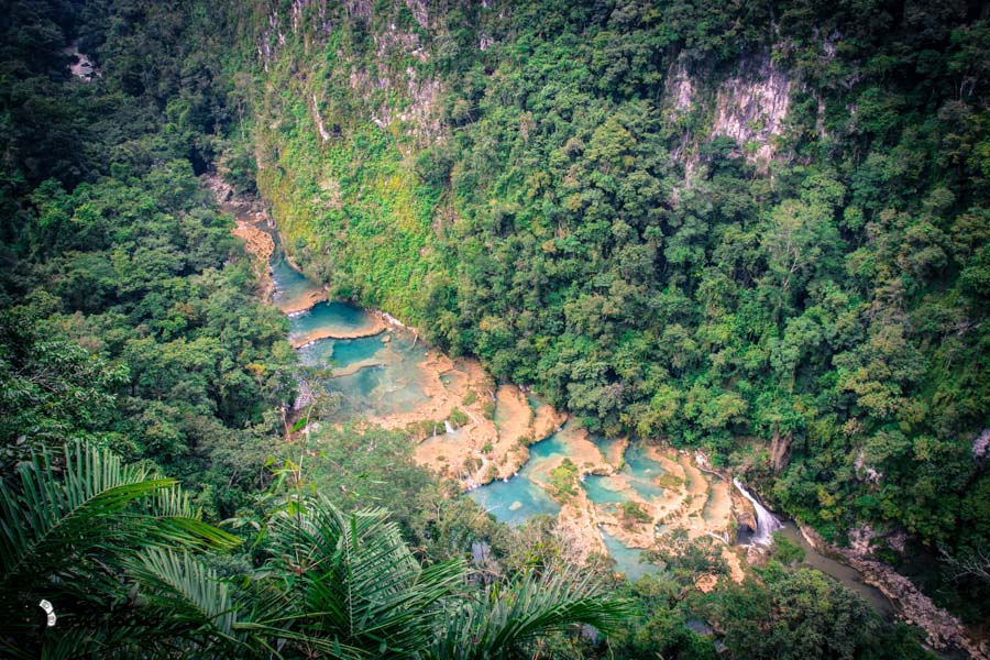 Semuc Champey from the view point Guatemala backpacking itinerary