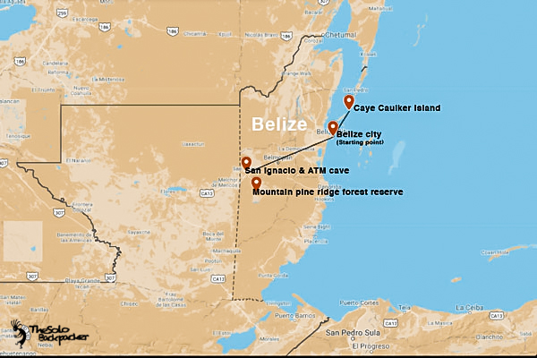 Belize backpacking itinerary map