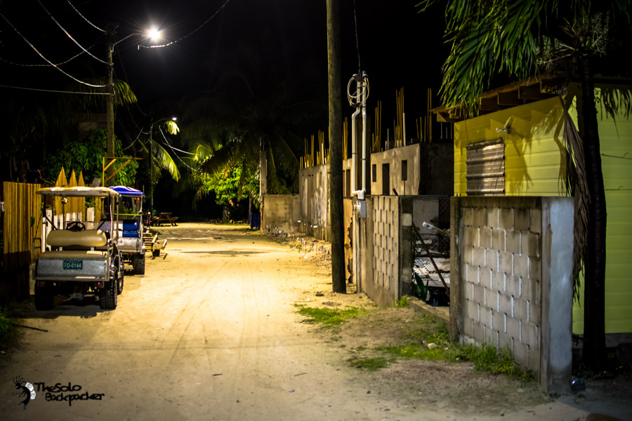 Caye Caulker at night Belize backpacking itinerary