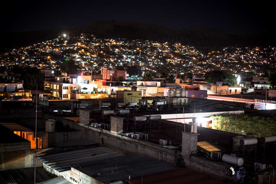 Oaxaca,View at night from Andaina Hostel. Mexico backpacking itinerary