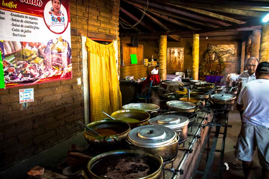 Open buffet restaurant with local Mexican food Monte Alban day tour. Mexico backpacking itinerary