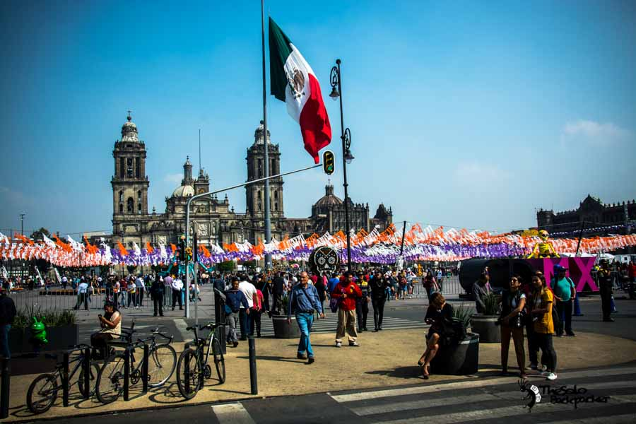 Zócalo Square and Cathedral in Mexico city, Mexico backpacking Itinerary